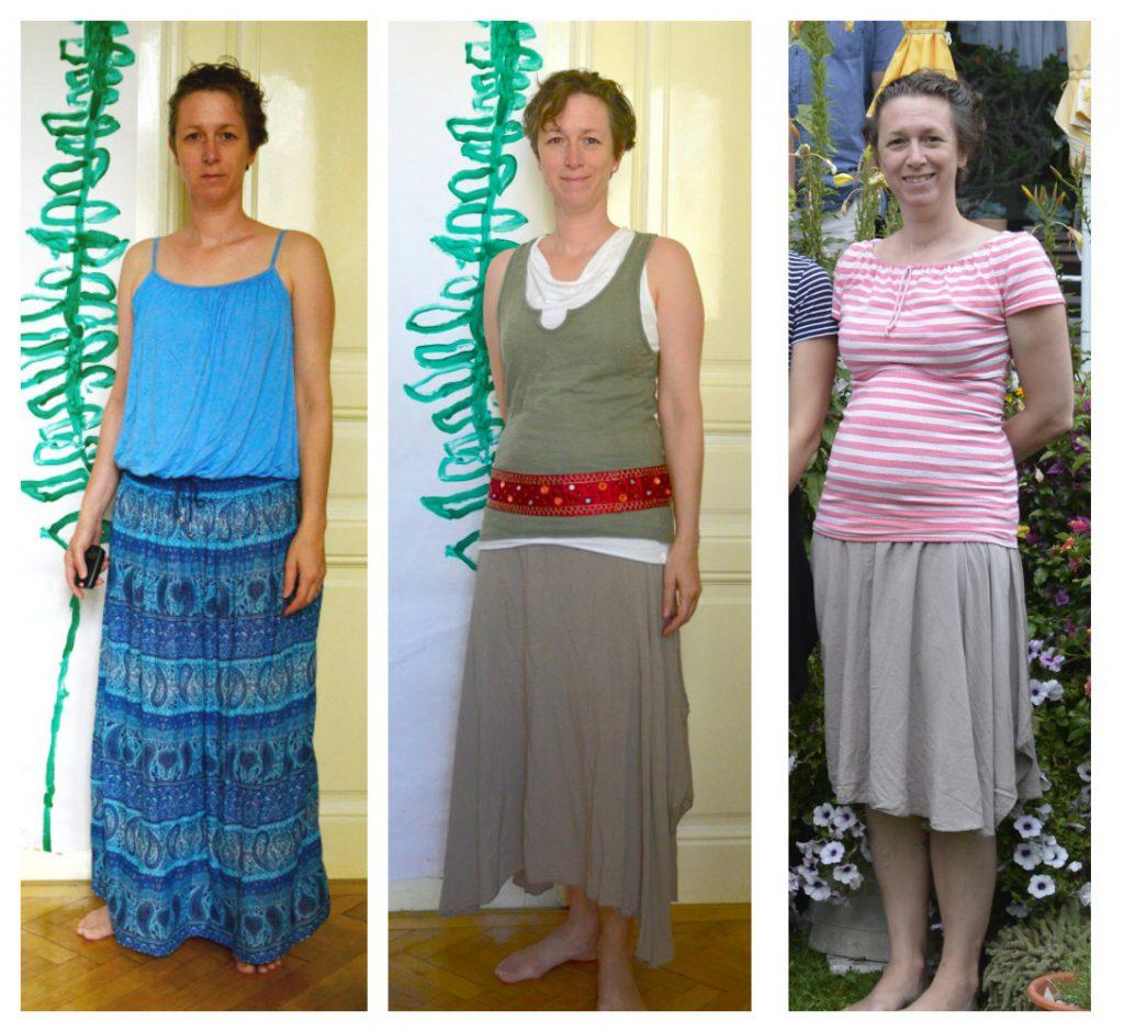 Jetzt mal abgesehen von der unpassenden Farbe (links): Das linke Outfit tut mit Spaghettiträgern, und kurzem Ballon nichts für mich, das rechte ist schon besser (den Rock habe ich später noch gekürzt