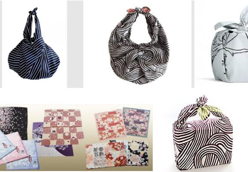 Furoshiki zu Taschen gebundene Tücher